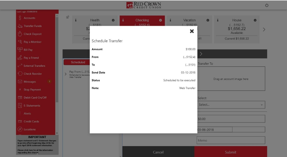 Transfer Funds Page - Scheduled Transfer Details