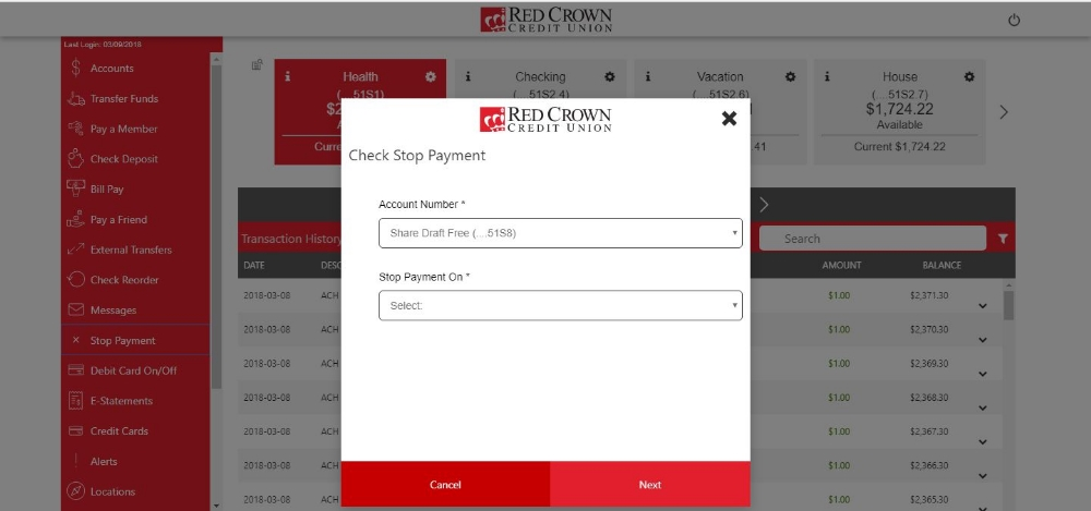 Stop Payment - Home Screen