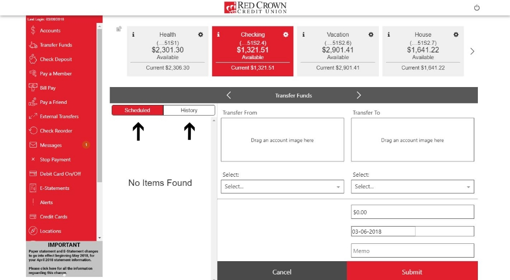Transfer Funds Page Home Page