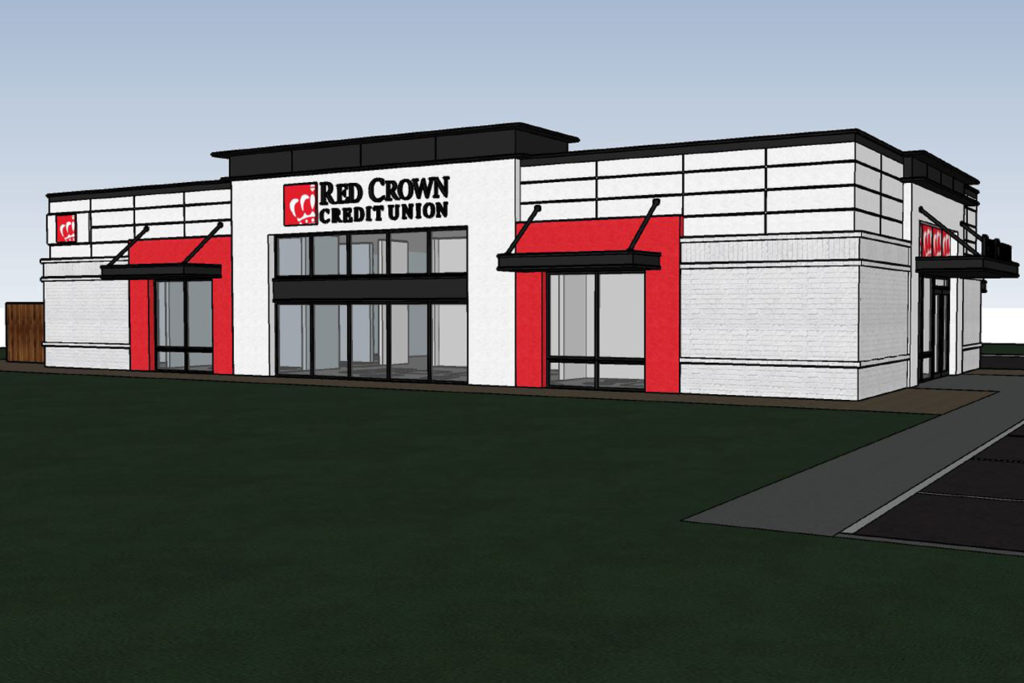 This image is of a modern-looking Red Crown Credit Union building. The building will be white with an accent of red, black, and gray. This building will be located in the MidAmerica Industrial Park.